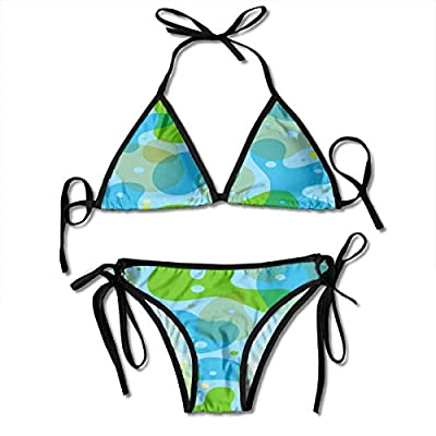 Swimsuit, Green Blue Tai Chi Pattern Thong Set Swimsuit Triangle Bottom String Bikini Sexy Swimwear Bathing Suit: Ropa y accesorios