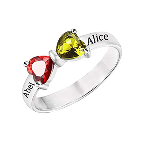 Personalized Promise Ring with 2 Simulated Birthstone Rings 2 Names for Couples (9.5,Silver-Plated-Base)