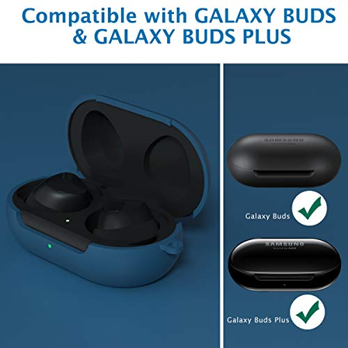 Galaxy Buds Case Cover, KMMIN Protective Case Skin for 2020 Newest Galaxy Buds+ Plus Carrying Silicone Case with Accessories Keychain Storage Case Support Wireless Charging Front LED Visble