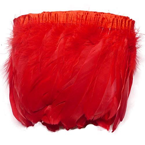 Sowder Duck Goose Feather Trim Fringe 2 Yards (Red)
