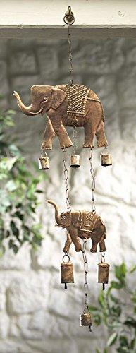 (Elephant Windchime Metal Bells Rustic Garden Decor Indoor Outdoor )