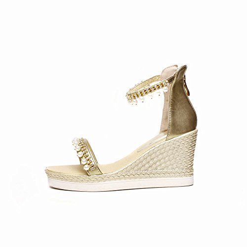 Women's High Wedge New Carolbar Gold Sandals Beaded Zip Heel Style Charm 4wdXqa