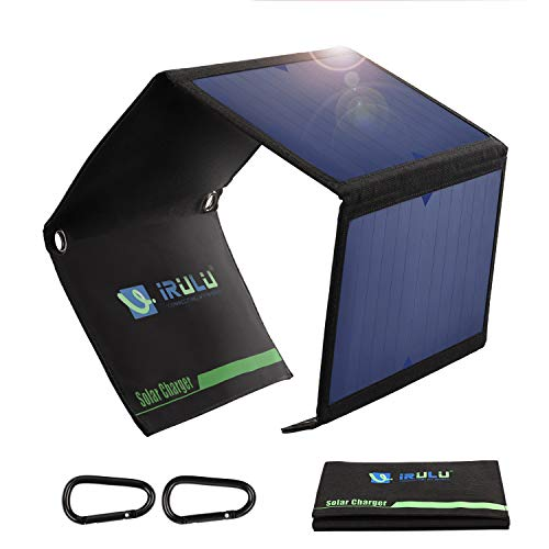 Solar Charger, iRULU Portable Solar Power Charger Waterproof Folding Solar Panel with Dual USB Port Charge for Cell Phone, iPhone, iPad, Samsung Galaxy, LG Android Smartphones, Tablet ect 21W