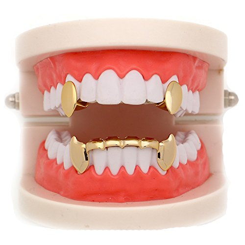 LuReen 14k Gold Vampire Dracula Teeth Grills 2pc Single Fangs and 6 Bottom Set -