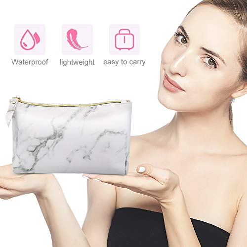 Marble Makeup Bags,LKE Cosmetic Display Cases Waterproof Marble Travel Cases Portable Makeup Bags Makeup Organizers(8.66x6.3x2.36Inches) (Marble Makeup Bags)