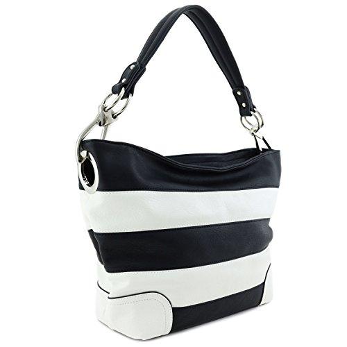 (Hobo Shoulder Bag with Big Snap Hook Hardware (Black/White) )