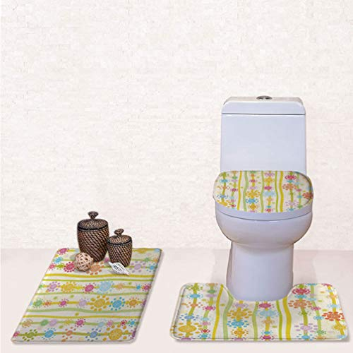- SCOCICI Three-Piece Toilet Seat Pad Custom Vertical Lines with Colorful Cartoon Style Flowers and Dots Kids Girls Fashion Bathroom Rug Mats Set Bath Mat + Contour + Toilet Lid Cover
