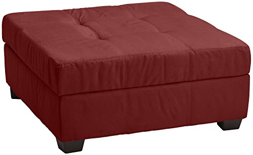 Epic Furnishings Microfiber Suede Upholstered Tufted Padded Hinged Square Storage Ottoman Bench, 36