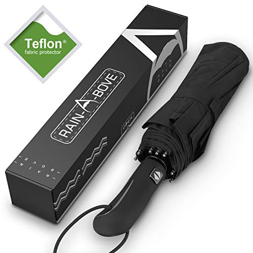 (RAIN-A-BOVE Umbrella – Windproof Collapsible Travel Umbrella with Teflon Coating and Auto Open and)