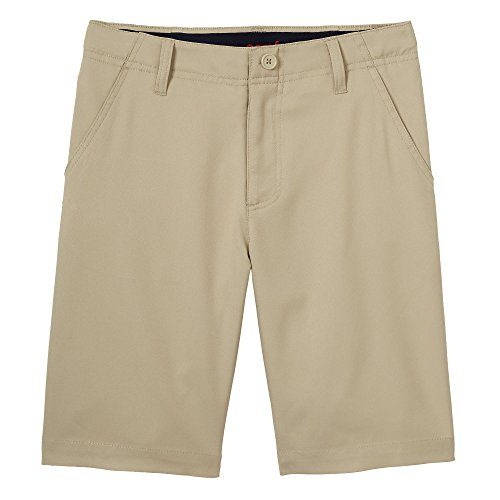 French Toast Little Boys' Flat Front Performance Stretch Short, Khaki, 5