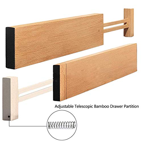 TILEMALL Bamboo Kitchen Drawer Dividers Drawer Organizers Expandable Drawer Dividers Wood Desk Drawer Organizers, Tray Organizer for Kitchen, Baby Drawer, Bathroom, Bedroom, Office or Dresser