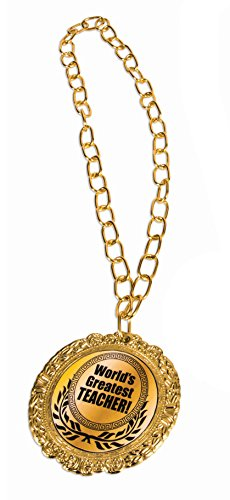Award 'World's Greatest Teacher' Medal Olympic Themed Medallion Novelty Necklace, One Size