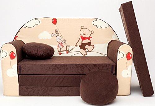 Kindersofa Bettfunktion 3in1 Sofa Kindersessel Ausziehbett mit Motiv, inkl. kleines Kissen und ein Sitzkissen. Zum Schlafen und Spielen. , Farbe:Teddy Braun K26
