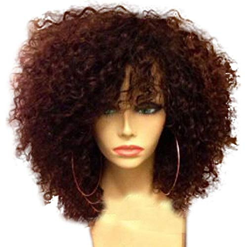 Curly Lace Front Wig With Bangs Brazilian Remy Human Hair Short Front Lace Wigs With Baby Hair For Black Women,Natural Color,10inches,180% -