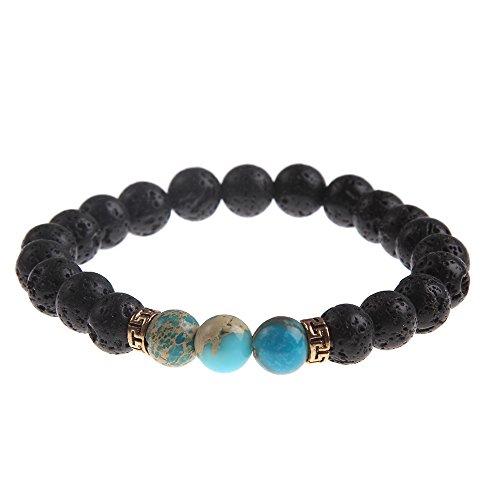 YEYULIN 8mm Lava Rock Beads 7 Chakra Natural Stone Bracelets Yoga Healing Energy Women Men Jewelry (Turquoise Beads Lava Beads)