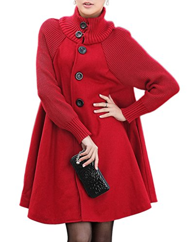 Sexyshine Women's Mid Long Length Single Breasted Cowl High Neck Loose Button Down Woolen Cloak Coat Jakect(Re,XL) Red