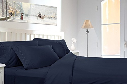 Clara Clark 4 Piece Premier 1800 Series Sheet Set, Queen, Navy Blue
