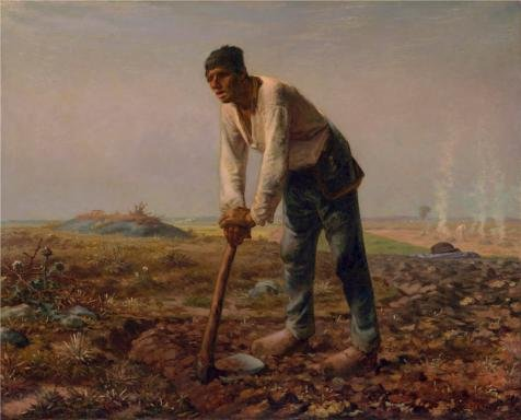 The High Quality Polyster Canvas Of Oil Painting 'Man With A Hoe,1860 - 1862 By Jean-Franois Millet' ,size: 10x12 Inch / 25x31 Cm ,this High Quality Art Decorative Prints On Canvas Is Fit For Laundry Room Artwork And Home Decor And