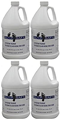 SLIPSafe® Non Slip Ceramic Tile & Stone Floor Coating Treatment #1 Proven Anti Slip Formula Used by National Chains - 4 Gallons