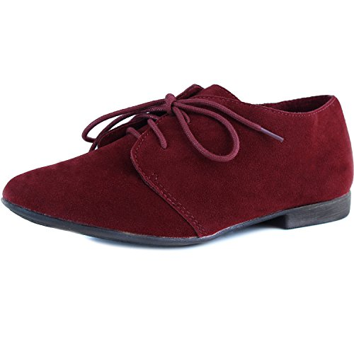 Breckelle Sandy-31, Cute Designer Look Oxford Flat - CLEARANCE Red