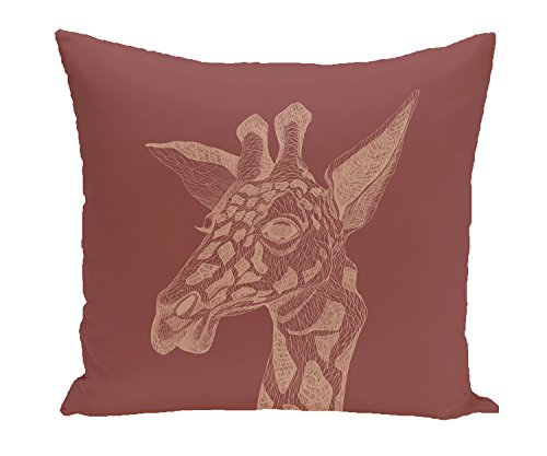 E by design PAN166OR6-16 PAN166OR6-16 la jirafa Animal Print Pillow, Mahogany,Rust by E by design