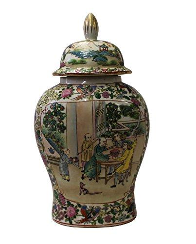 Chinese Oriental Famille Rose Porcelain People Scenery Flat Jar Acs3056