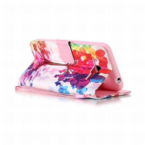 Yiizy Samsung Galaxy J3 (2016) J320 Funda, árboles Coloreados Diseño Solapa Flip Billetera Carcasa Tapa Estuches Premium PU Cuero Cover Cáscara Bumper Protector Slim Piel Shell Case Stand Ranura para