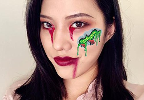 COKOHAPPY 2 Large Sheets Halloween Temporary Tattoo , Chemical Wound Pustule Scar Bleeding , Resident Evil Costume Party and Zombies (Zombie Artist Costume)