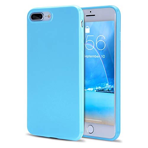 iPhone 8 Plus Case, iPhone 7 Plus Case Girls, FGA Candy Cute Slim Fit Solid Color Shockproof Protective Flexible Soft TPU Gel Case Cover iPhone 8 Plus(2017), iPhone 7 Plus(2016)(Sky Blue)