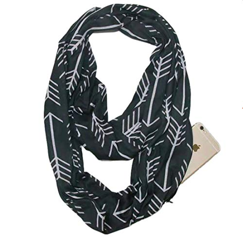 Infinity Scarf With Zipper Pocket For Women Girls - Convertible Soft Stretchy Travel Scarves (Black White-Arrow)