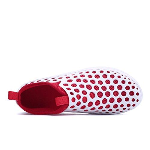 Strandschuhe Aquaschuhe Oriskey Wattschuhe Damen Wasserschuhe Rot für Wassersportschuhe Schwimmschuhe Weiß Badeschuhe Surfschuhe qEq6rdB