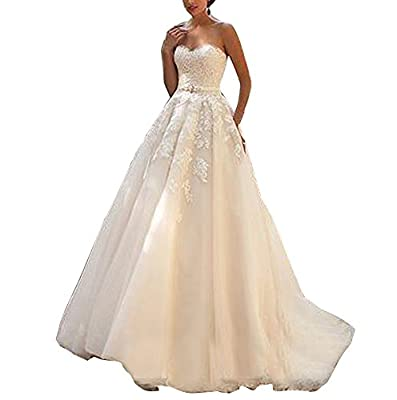 Vivibridal Women's Sweetheart Country Wedding Dresses Bridal Gown Lace Up Back With Blet