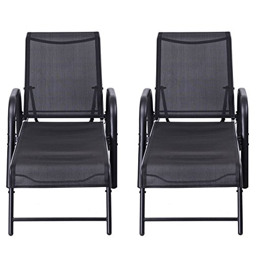 (Black 2 PCS. Patio Lounge Chairs Sling Chaise Lounges Recliner Adjustable Back For Leisure)