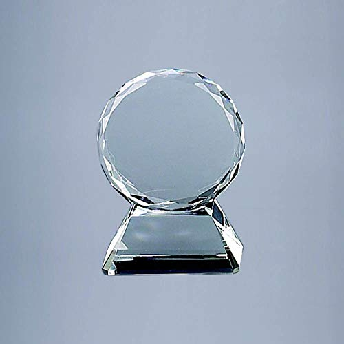 Optic Glass Trophy - Round Optic Glass Trophy On Base (5 in. L x 1.75 in. W x 6.75 in. H)