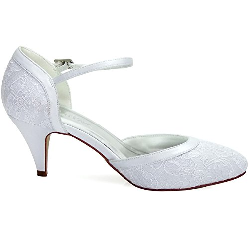 Bridle Hc1508 Lace Shoes Buckle Janes Pumps tonda Punta Ankle White Décolleté Heel Mary Elegantpark Donna Dendelle qIFp7dHIw
