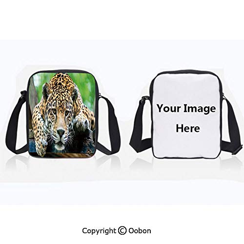 Polyester Anti-Theft Cross-Body Bag Unisex Adult South American Jaguar Wild Animal Carnivore Endangered Feline Safari Image Orange Black Green Zipper Bucket Anti Theft Bag For Journey ()