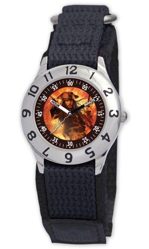 Disney Kids' D008S500 Pirates of the Caribbean Black Velcro Watch