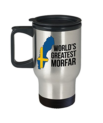 Sweden Travel Mug - Morfar Swedish Flag Insulated Portable Coffee Cup For Men - Best Birthday, Father's Day & Christmas Gift For Scandinavian Heritage Grandfathers - Proud Nordic Viking ()