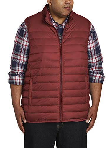 Amazon Essentials Men's Big & Tall Lightweight Water-Resistant Packable Puffer Vest, Brick Red, 2X