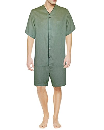 Armani International Dante Linen Short Pajama Set Large, Sage by Armani International