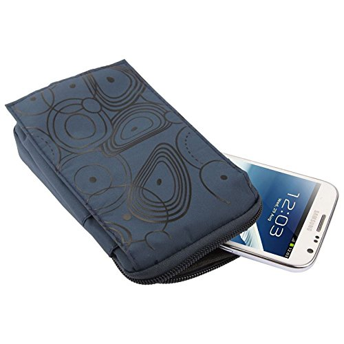5077 Stripe - DFV mobile - Multi-Functional Vertical Stripes Pouch Bag Case Zipper Closing Carabiner for => TEXET TM-5077 (2018) > Blue (16 x 9.5 cm)
