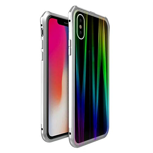 AutumnFall ����1PC for iPhone Xs MAX Case Luxury Aluminum Metal Bumper Magnetic Adsorption Tempered Glass Case for Apple iPhone Xs MAX 6.5 inch Cover (Silver)