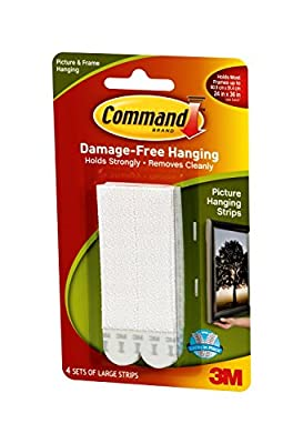 Command Picture Hanging Strips, Large, White, 4 Strips (17206-ES)