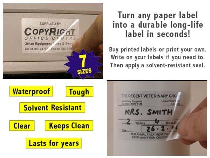 38x21mm Rectangle Gloss Clear Over-Seal Stickers 300 Labels Self-Adhesive Transparent Protective Seals