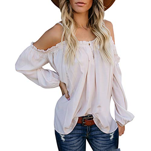(AMOFINY Womens Casual T-Shirt Off Shoulder Solid Long Sleeve Top Plus Size)