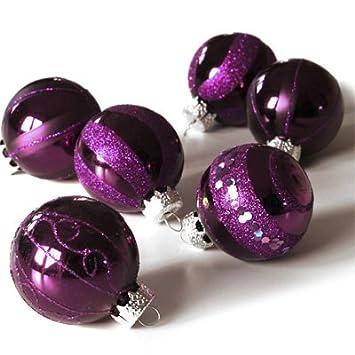 Christbaumkugeln Brombeer.Weihnachtskugeln Very Berry Brombeer Lila Aus Glas 6tlg Set