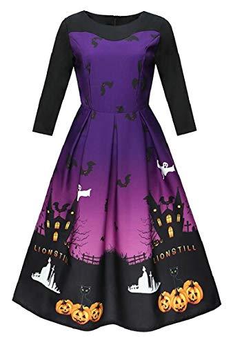 Da Tre Sera Hepburn Stampato Jaycargogo Come Quarti Immagine Womens Vestito Oscillazione Zucca Fantasma Promenade 6R0wnZ