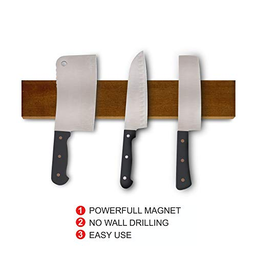 Bar Magnetic 18 Display (NHATVYWOOD 18'' Magnetic Knife Holder - NO SCREWS Knife Magnetic Strip for Kitchen – Practical and Safe – FREE 3M Double-Sided Bonding Tapes – Brown Color)