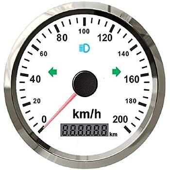 ELING GPS Speedometer Speedo 0-200MPH 0-300KM//H ODO for Auto Marine with Backlight 85mm 12V 24V