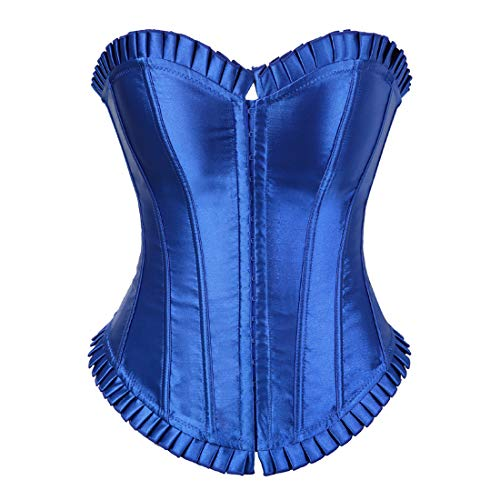 Women's Bustier Corset Top Sexy Lingerie Sets Black Satin Waist Cincher Blue Small]()